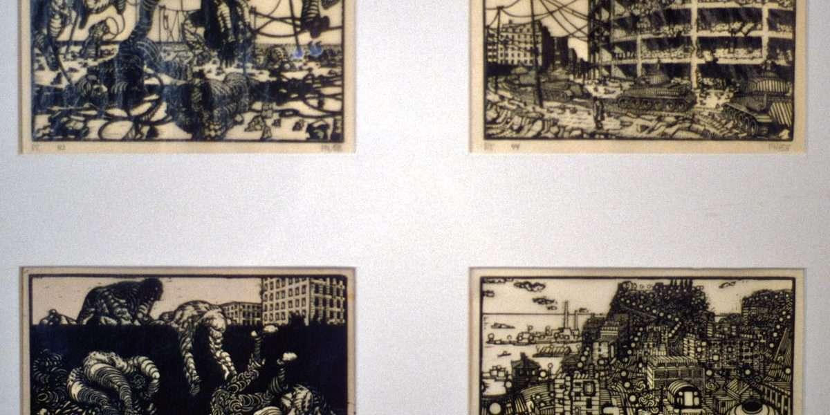 Palle Nielsen 1920-2000 - I krigens verden/I krigens verden/I krigens verden/Træthed  -  Palle Nielsen 1920-2000 - 601B/602B/603B/604B