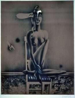 Paul Wunderlich - Siddende Kvinde  -  Paul Wunderlich - 2326B