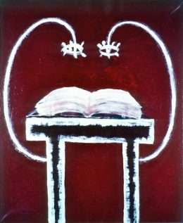 Peter Bonde - Bordret læser texten  -  Peter Bonde - 2973A