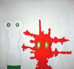 Poul Agger - Hvid totem og rød maske  -  Poul Agger - 2414A