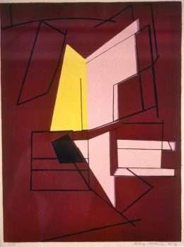 Richard Mortensen 1910-1993 - Komposition med linier  -  Richard Mortensen 1910-1993 - 1703A