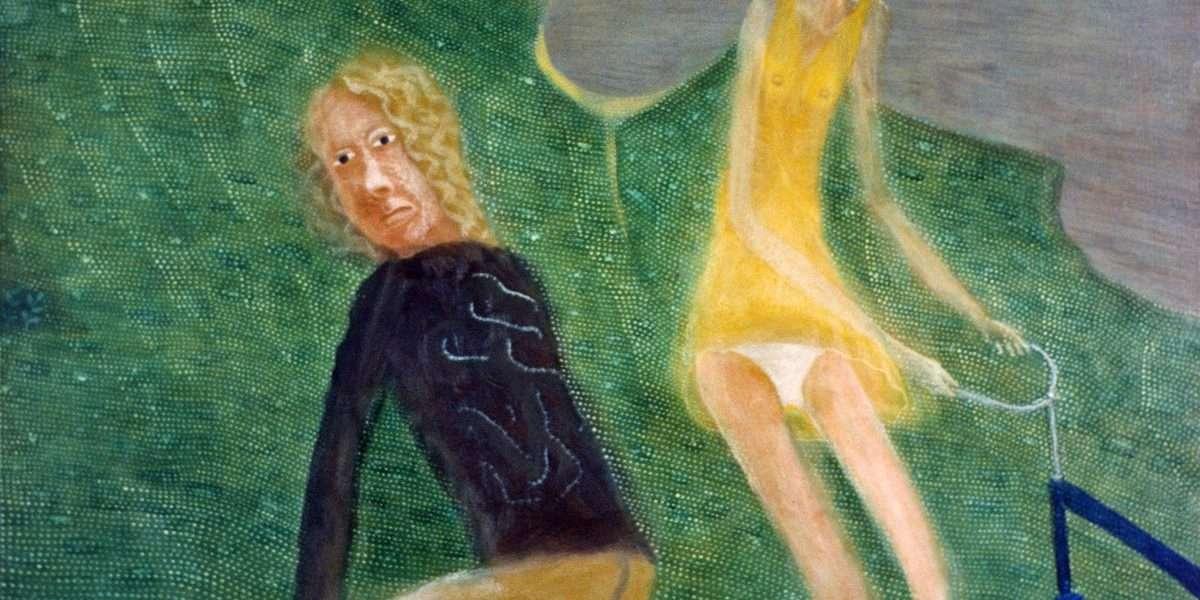 Seppo Mattinen - To figurer i grønt landskab  -  Seppo Mattinen - 3127A