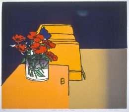 Trevor Allen - Gul sofa og tulipaner  -  Trevor Allen - 2281B